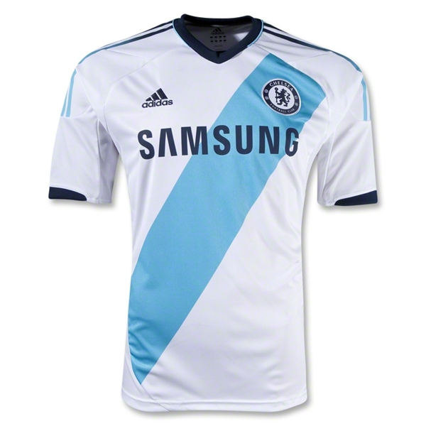 df150db9704 Chelsea recently released their new away kit for the 2012/13 season. The  Adidas duds are primarily white and classy overall – until you get to that  baby ...